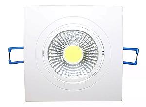 Kit 5 Spot LED 3w COB Quadrado Carcaça Branca - Branco Frio