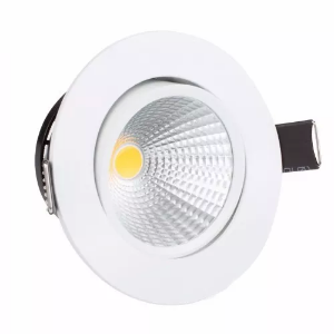 Kit 5 Mini Spot Led 3w COB Redondo - Branco Quente
