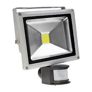 Kit 10 Refletor Led 20w c/ Sensor de Presença - Branco Frio