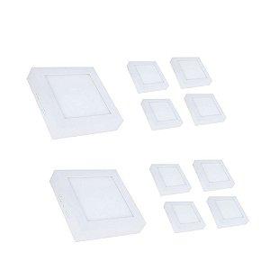 Kit 10 Mini Painel Plafon LED 18w Quadrado Sobrepor - Branco Frio