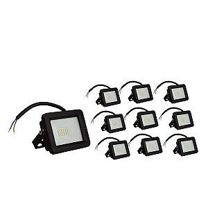 Kit 10 Refletor LED 30w SMD Eco - Branco Frio