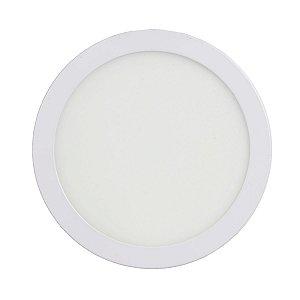 Mini Painel Plafon LED 18w Redondo Sobrepror - Branco Quente