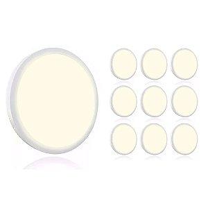 Kit 10 Mini Painel Plafon LED 18w Redondo Sobrepror - Branco Quente