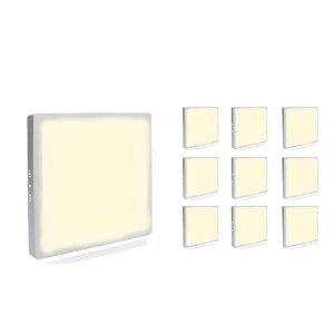 Kit 10 Mini Painel Plafon LED 18w Quadrado  Sobrepor - Branco Quente