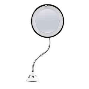 Espelho de Maquiagem com LED Ventosa Portátil 10x Aumento - HQ-0301