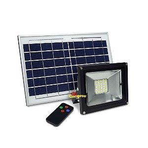 Refletor Led 20w Solar Holofote Luminária - Branco Frio