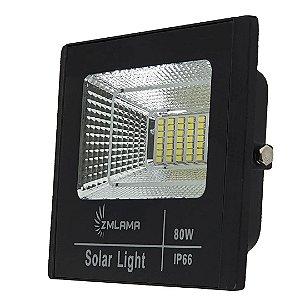 Refletor LED 80w Solar Branco frio + Painel Solar