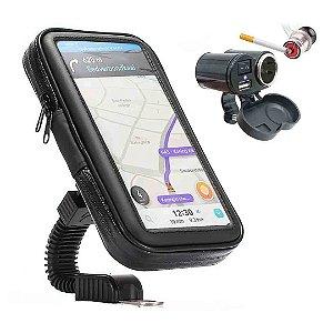 Kit Para Moto Suporte Celular + Carregador USB e Capinha