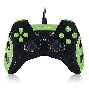 Controle Gamer Joystick Multilaser JS091 LED Com Fio - Preto e Verde