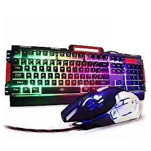 Kit Teclado Gamer Semi Mecânico E Mouse Óptico BK-G3000