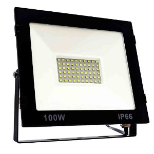 Refletor LED 100w Holofote Slim Bivolt - Branco Frio