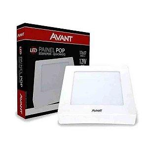 Painel Plafon LED 12w Quadrado Sobrepor Bivolt Avant - Branco Frio