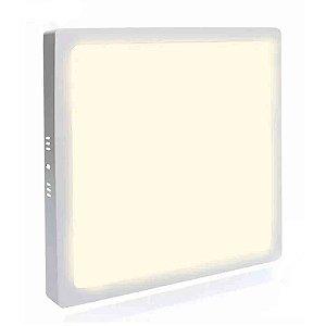 Painel Plafon Led 25w Quadrado Sobrepor - Branco Morno