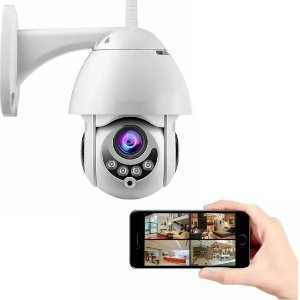 Câmera IP Dome WiFi Full HD à Prova d'Água com Visão Noturna PTZ 320°