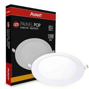 KIT 10 Painel Plafon LED 18w Redondo Embutir Avant - Branco Quente