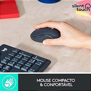 Teclado e Mouse Sem-Fios Combo Logitech Baixo Ruído - MK295 SILENT