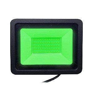 Refletor Led Verde 50w Slim SMD - Estilo e Cromoterapia