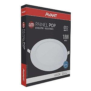 KIT 10 Painel Plafon LED 18w Redondo Embutir Bivolt - Branco Frio - AVANT