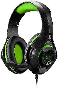 Headset Gamer Warrior Rama P3 e USB com Adaptador P2 e LED Verde