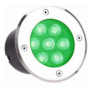 Balizador de LED Verde  7w Embutir no Chão - Estilo e Cromoterapia
