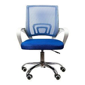 Cadeira Home Office Ergonômica Confortável Escritório - Branca e Azul