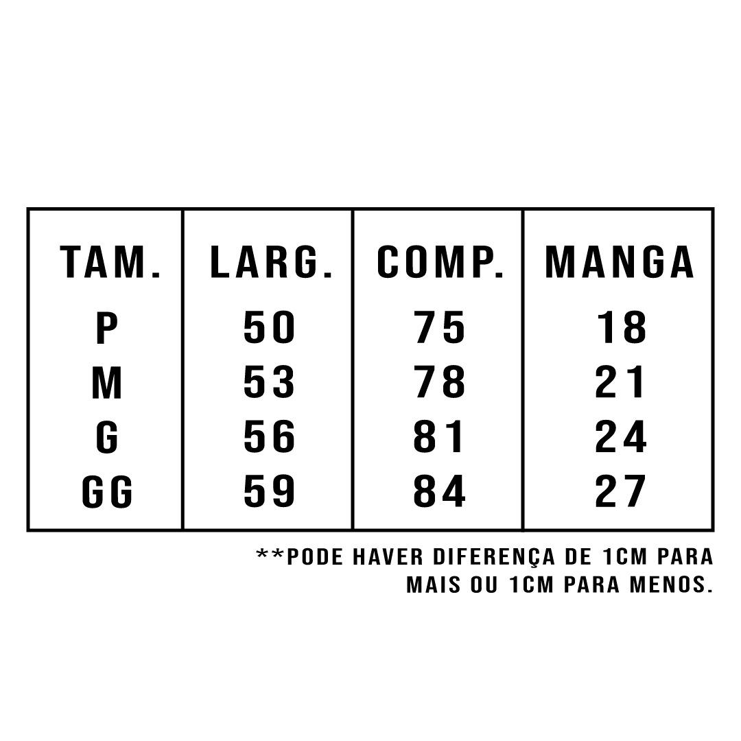 tabela de tamanhos para camiseta básica