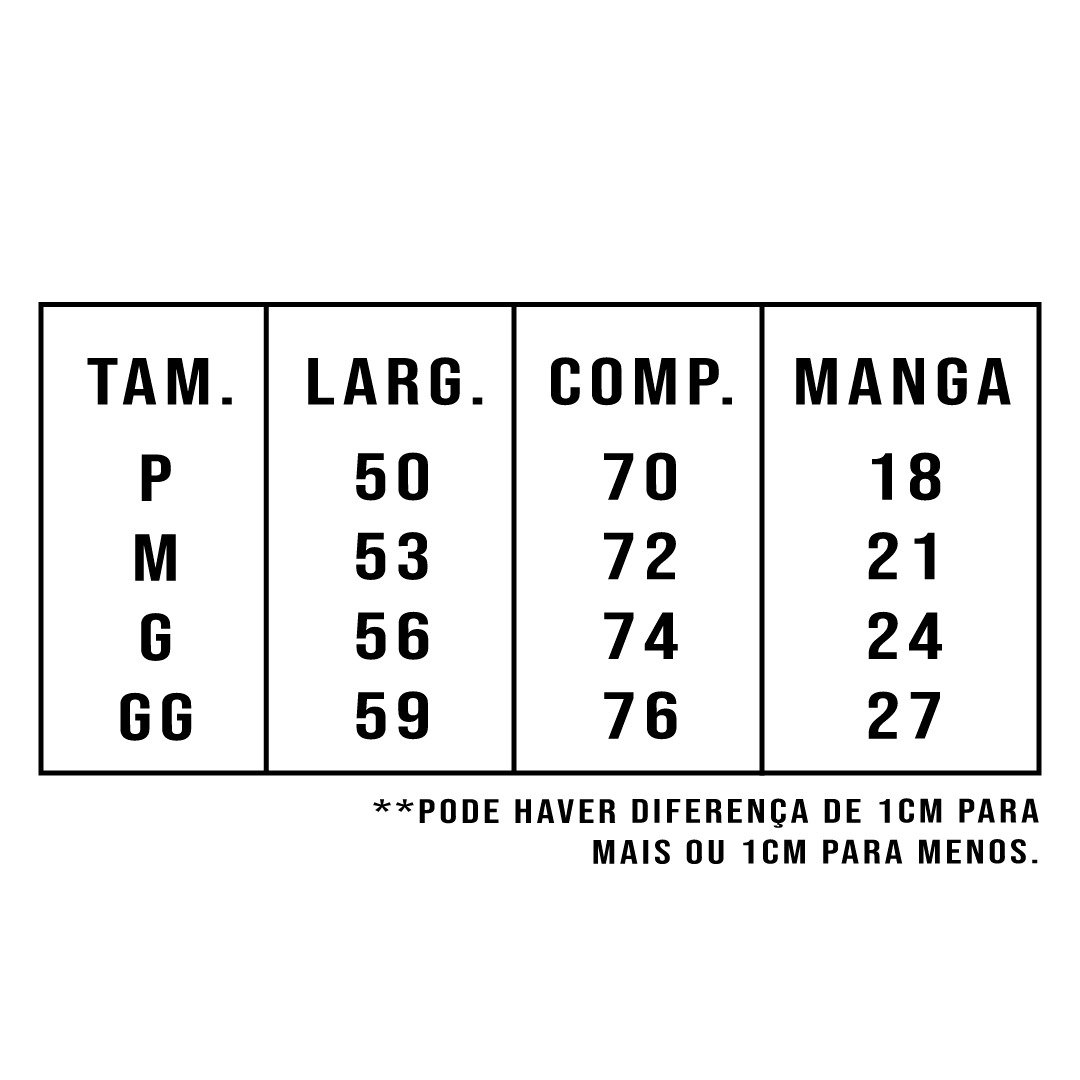 tabela de medidas para camiseta