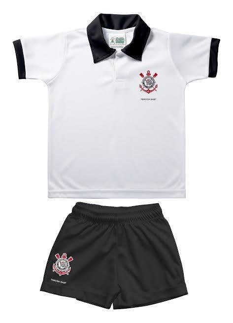 Conjunto Bebê Corinthians Uniforme Polo Oficial