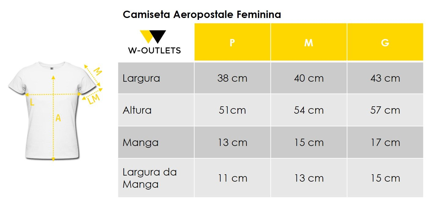 Tabela de tamanho para camisetas aeropostale femininas