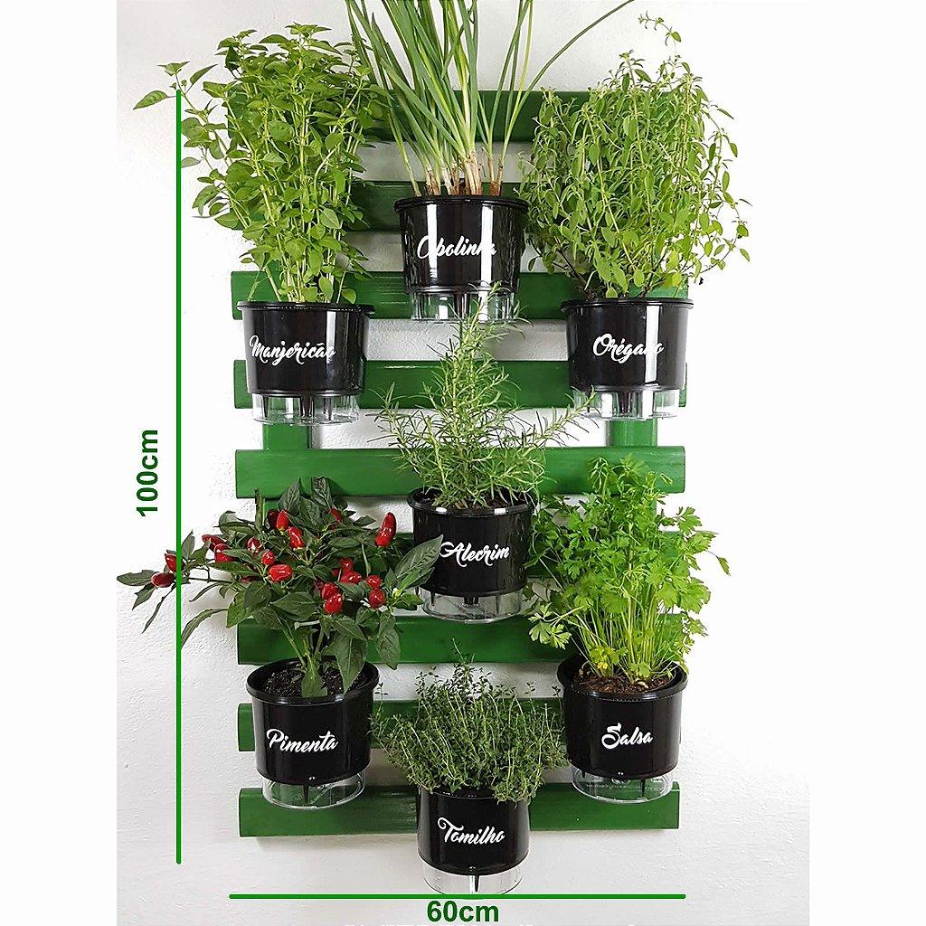 64825ebf4 Horta Vertical Auto-Irrigável Gourmet - Treliça Verde 100x60cm com 7 Vasos  Grandes Pretos