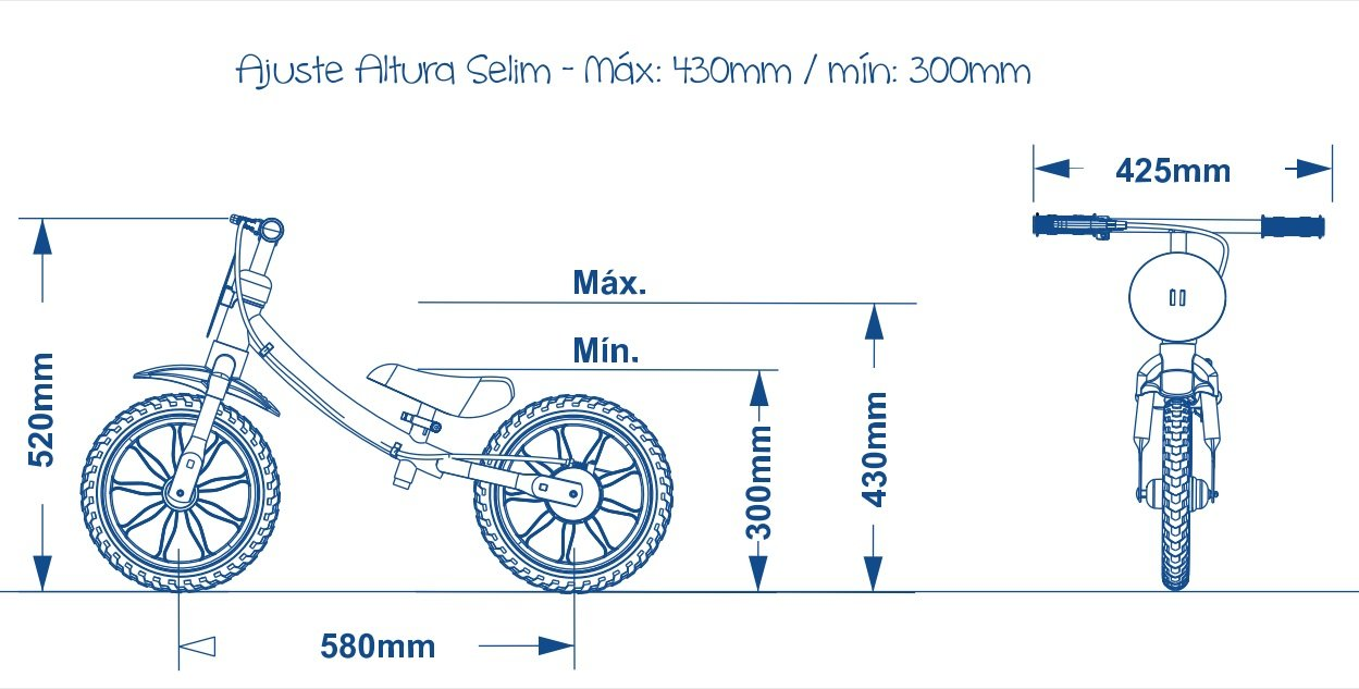 Ajuste da altura do selim Balance Bike Nathor