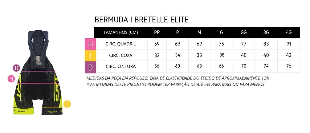 Tabela de medidas bermuda de ciclismo masculina ERT