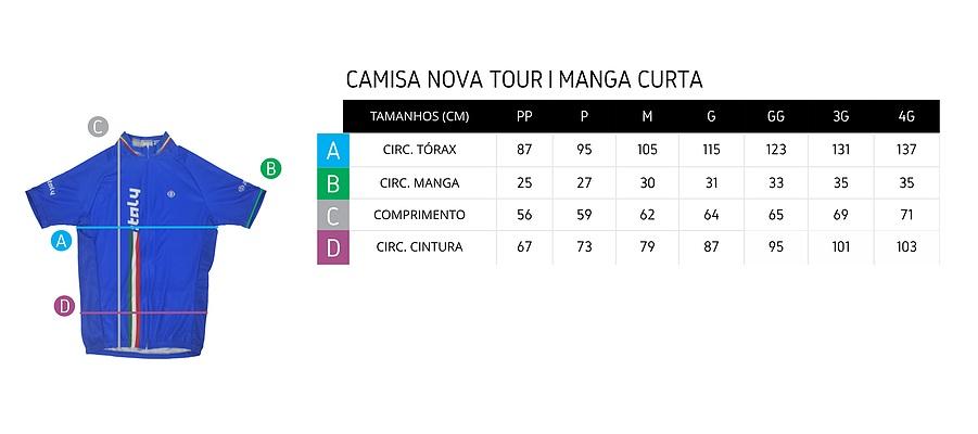 Tabela de medidas camisa de ciclismo ERT