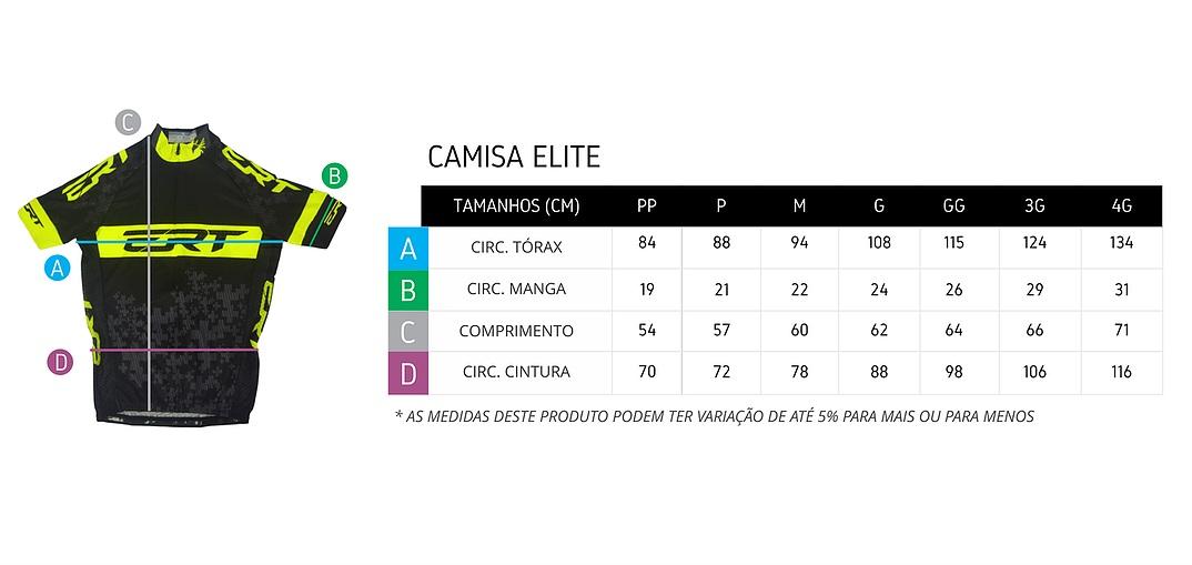 Tabela de medidas camisa de ciclismo elite ERT