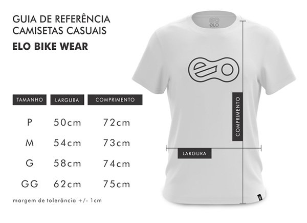 Tabela de medidas camisetas casuais Elo Bike Wear