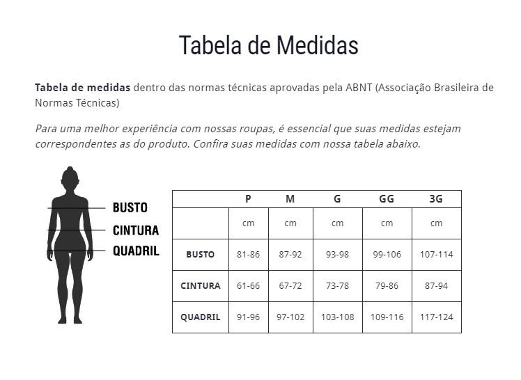 Tabela de medidas feminina Free Force