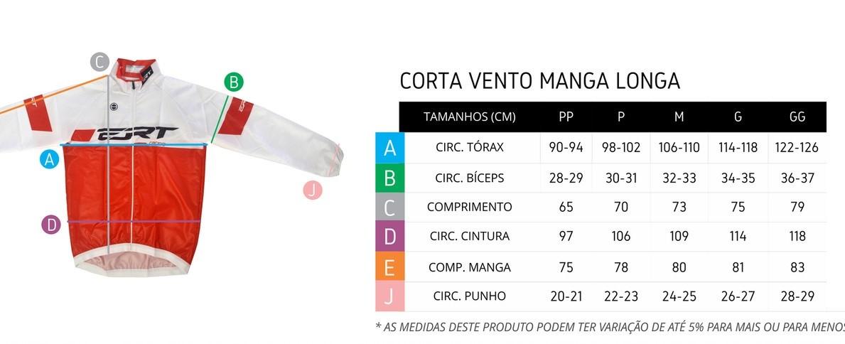 Tabela de medidas jaqueta corta vento ciclismo ERT
