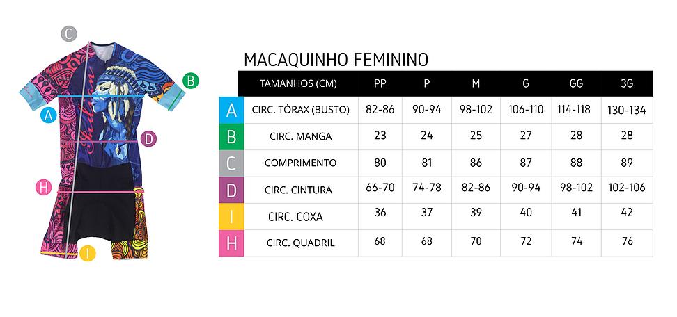Tabela de medidas macaquinho de ciclismo feminino ERT