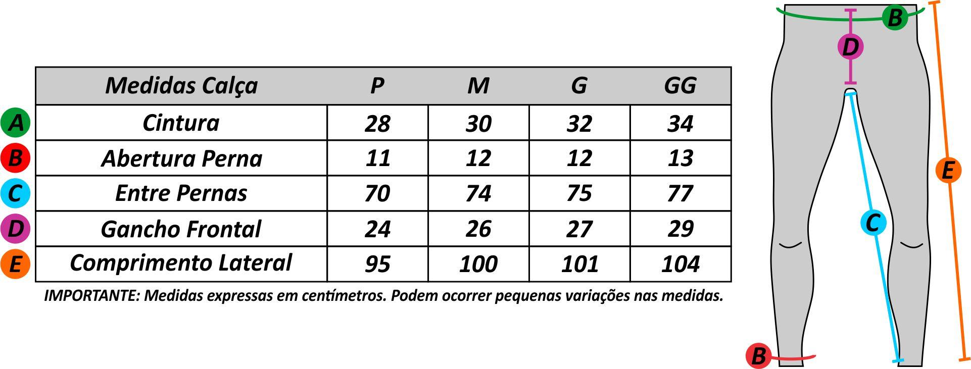 Tabela de medidas calça ciclismo masculina Be Fast