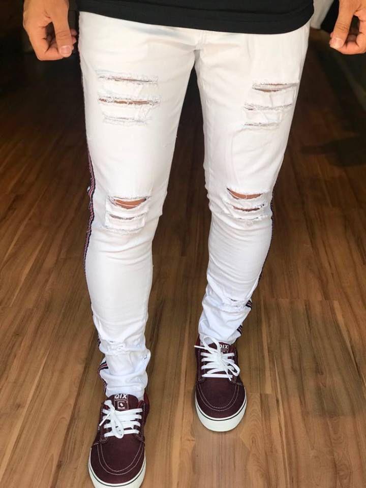 6219cc350 Calça Jeans White Destroyed Com Faixa - Creed Jeans - Imperium Store ...