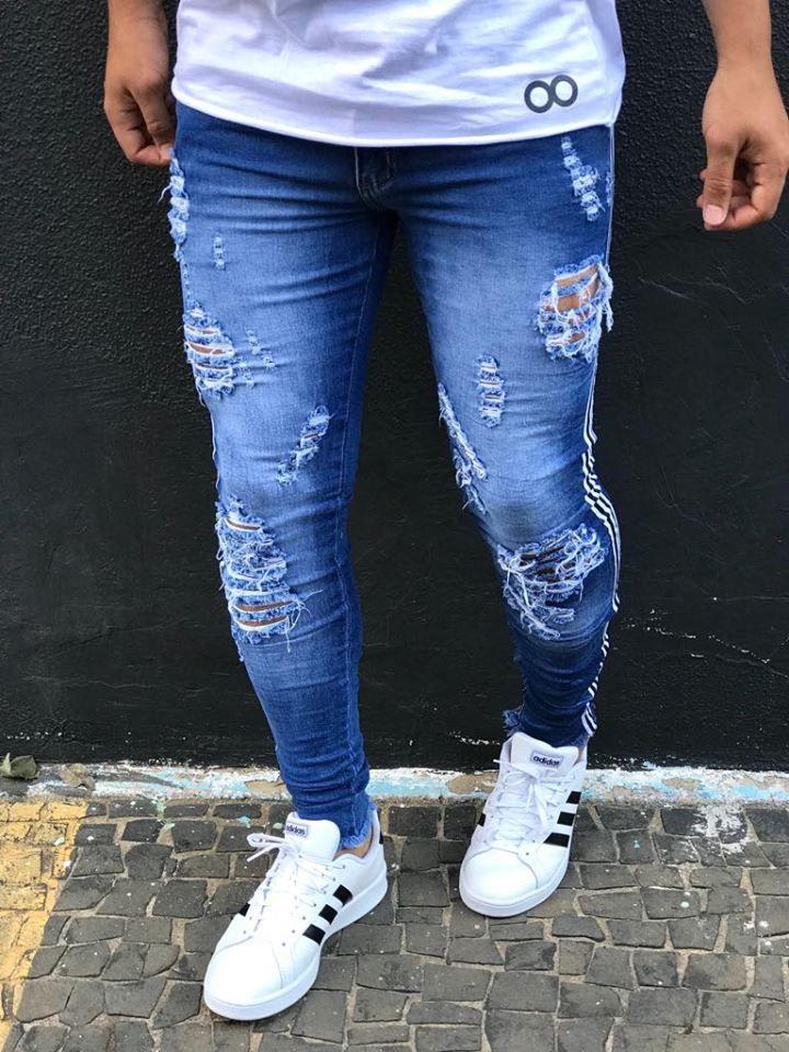 71b9032f9 ... Calça Jeans Skinny Destroyed 3D & Faixa Lateral - Kawipii - Imagem ...