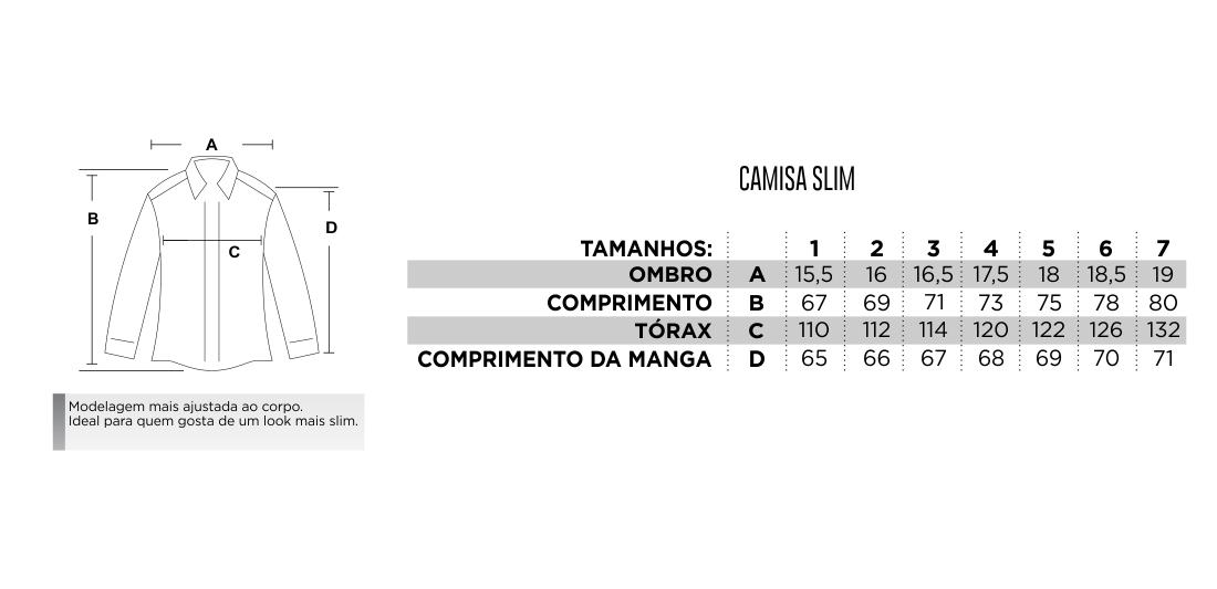 Tabela de medidas.