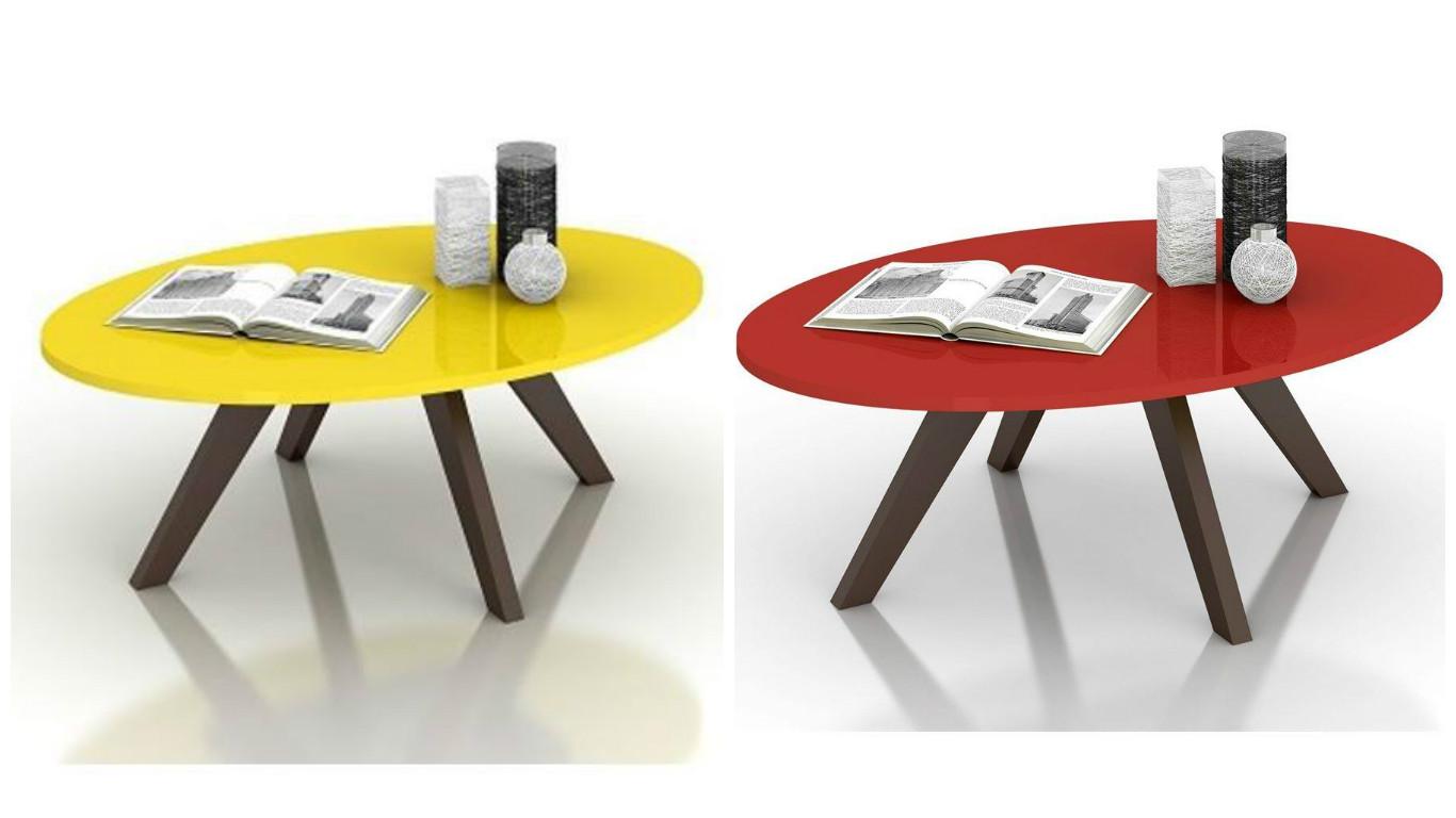 Mesa de centro redonda de madeira alba dj m veis lojas - Mesa centro redonda ...