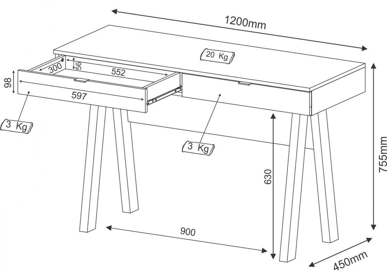 Para todos verem: Imagem com as dimensões da Escrivaninha Salinas com 2 gavetas | Mesa de escritório