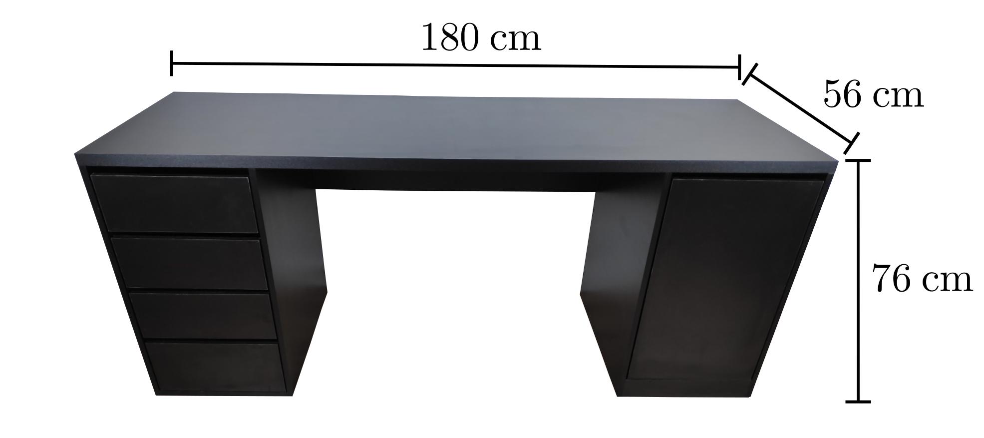 Imagem com as dimensões da Mesa White Oak 180x56 - TreeMobili, fabricada Em MDF Branco - Com 4 gavetas e armário.