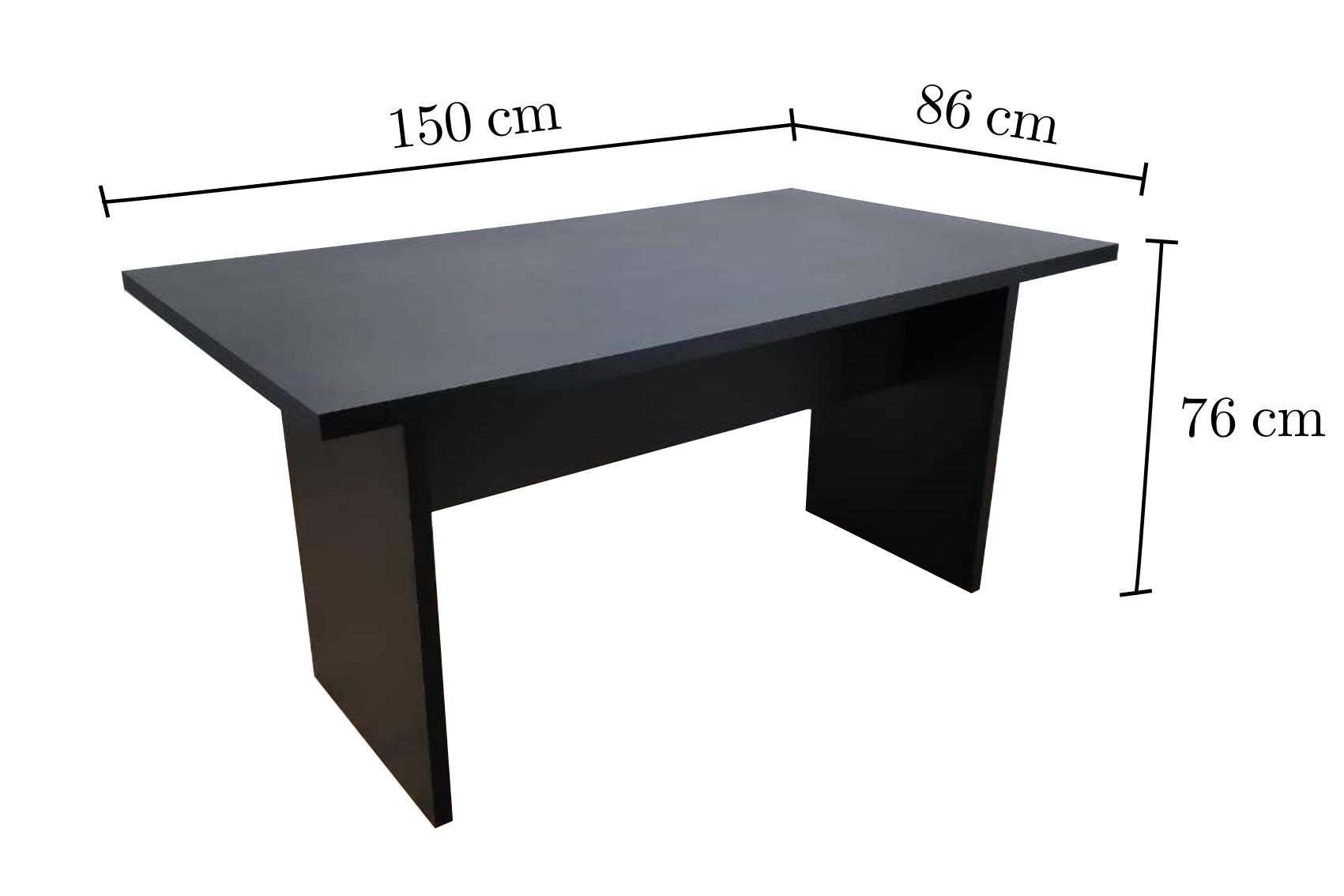 Imagem com as dimensões da Mesa de Reuniões 150x85, fabricada em MDF pela TreeMobili.