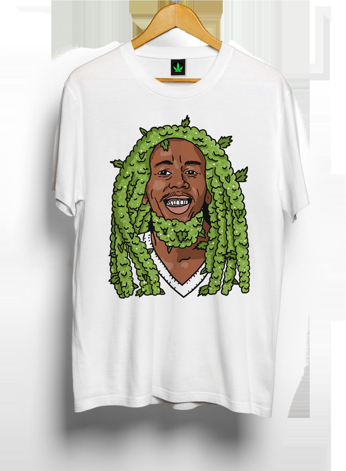 Camiseta estampada da maconha Bud Marley