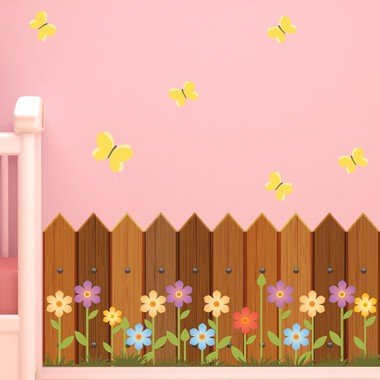 adesivo-de-parede-infantil-cerca-de-madeira-e-flores