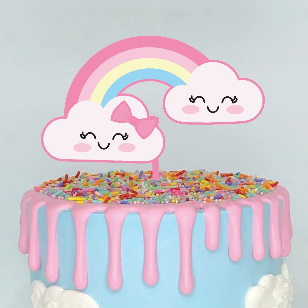Topo De Bolo Chuva De Amor Color Glitter Aniversario Sonho Fino