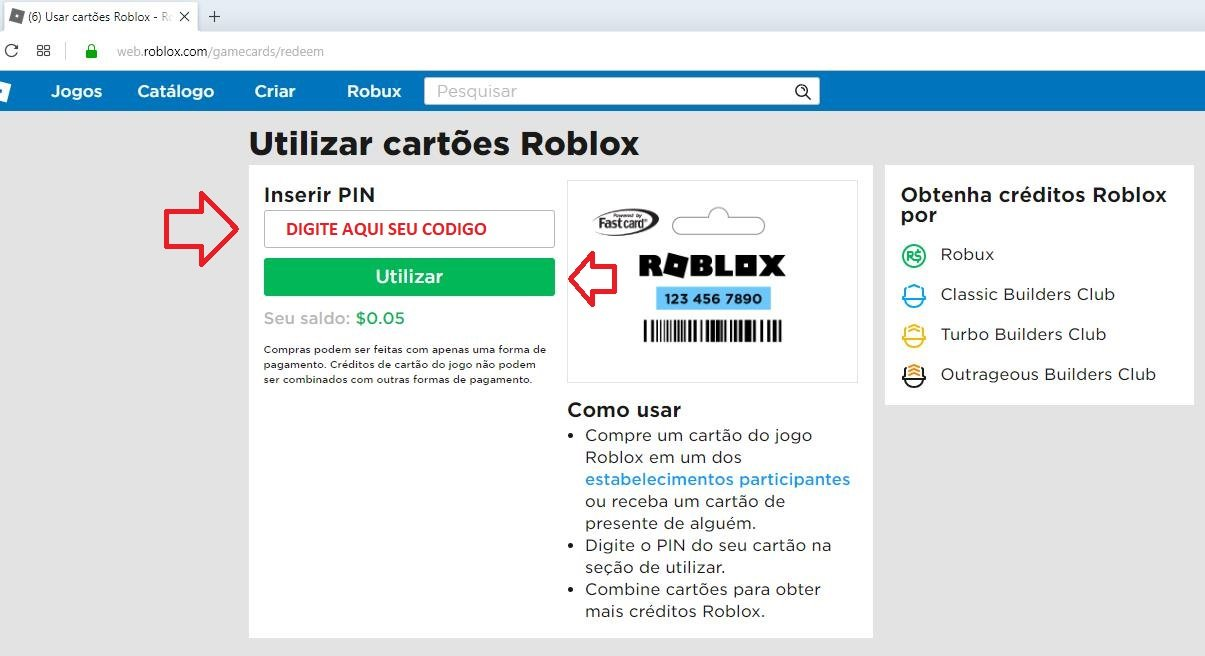 Como Resgatar O Cartao De Robux No Roblox Cartoes Psn Xbox